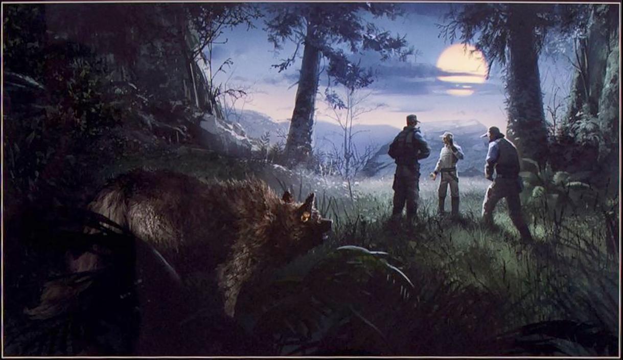 Ein Werwolf bespitzelt in Lupus Form Menschen