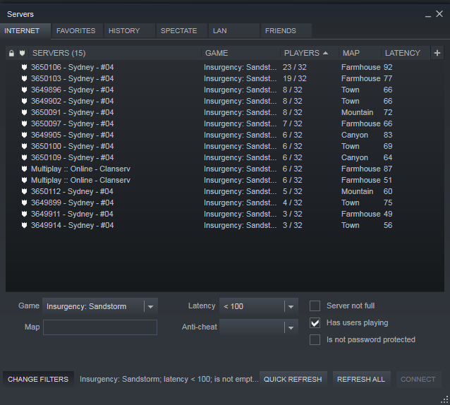Insurgency matchmaking no servers